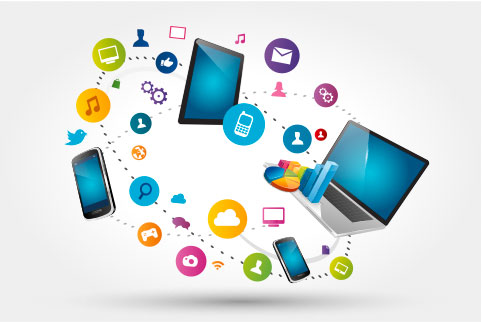 Illustration of a laptop, tablet and smart phone floating with various other social media and online icons